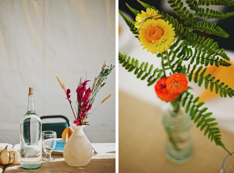 Tillamook Wedding Photographer - Tabletop and floral details - Oceanside Community Center Reception