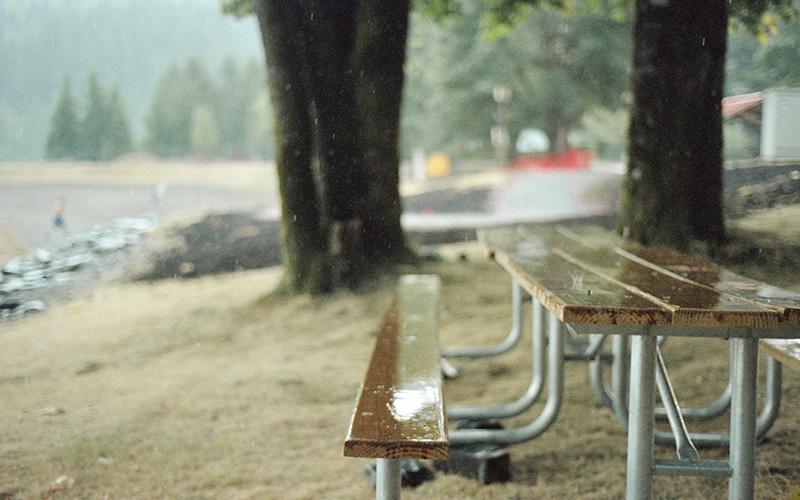 Nikon F100 - Kodak Portra 160VC - Park bench during a thunder storm