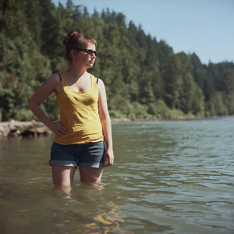 Portland Film Photographer - Rolleiflex self-portrait on the Sandy River