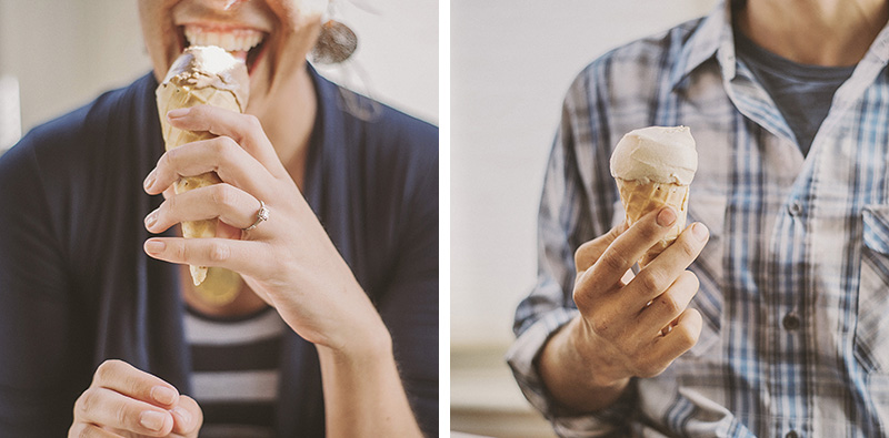 Humboldt Portrait Photographer - Diptych of Rowan and Dustin's ice cream cones at the Arcata Scoop