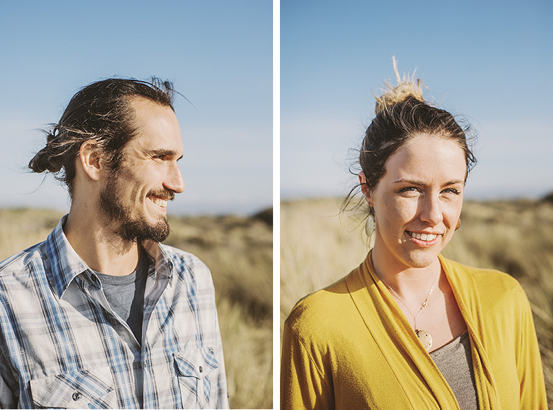 Humboldt Portrait Photographer - Diptych of Dustin and Rowan at Mad River Beach, CA