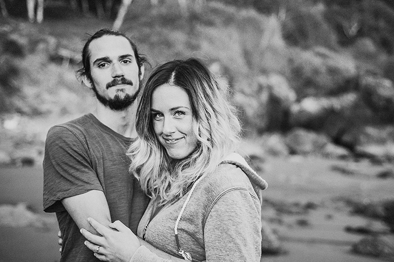 Humboldt Portrait Photographer - Black and white portrait of Rowan and Dustin at Luffenholtz Beach, CA