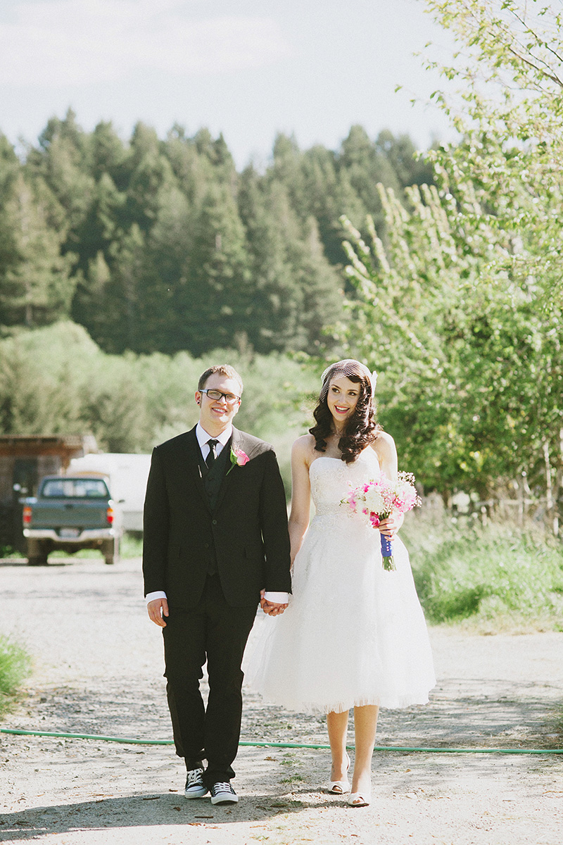 Arcata Wedding Photographer - Bride and Groom walking to Redwood Roots Farm
