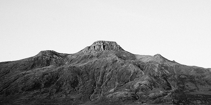 Iceland Wedding Photographer - Black and white photo of Spákonufell Mountain in Skagaströnd