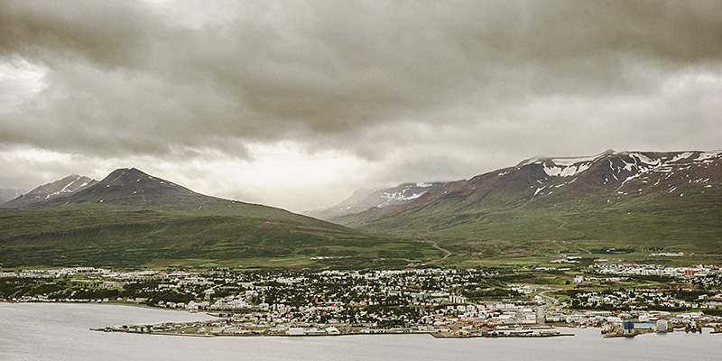 Iceland Wedding Photographer - View of Akureyri from across the fjord