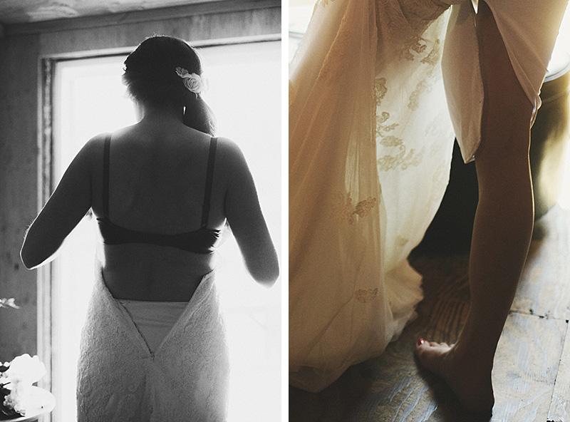 Oregon City Wedding Photographer - Bride putting on dress