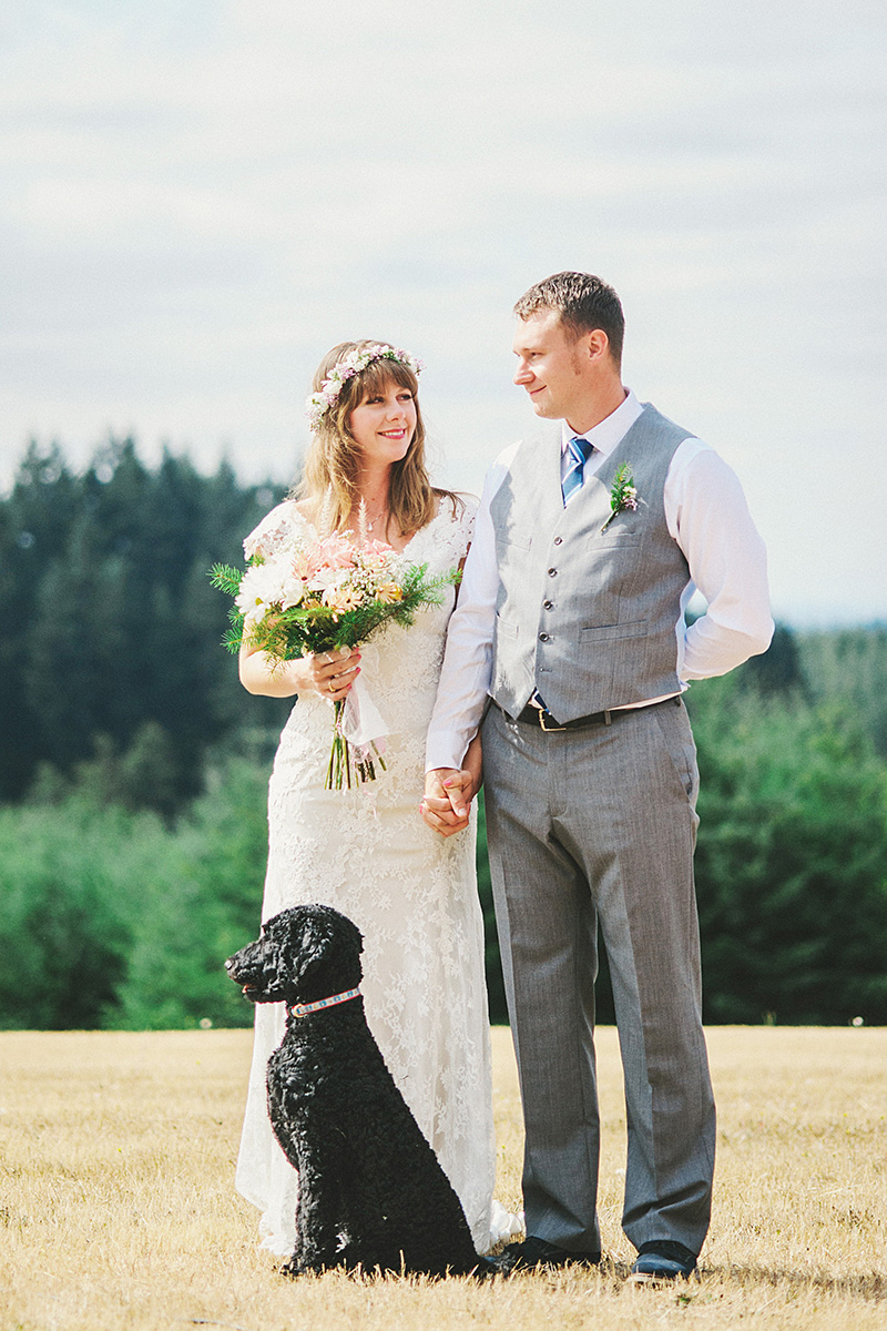Yamhill Wedding Photographer - Jill and Tommy with their dog at the ceremony