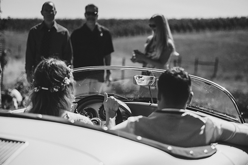 Yamhill Wedding Photographer - Jill and Tommy leaving the reception at the Willakenzie Estate