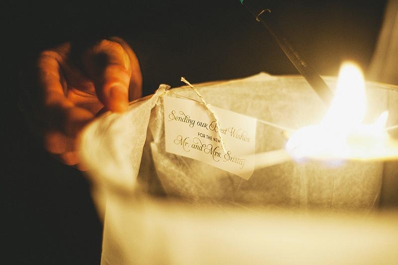 St. Petersburg Wedding Photographs - Lighting wish lanterns