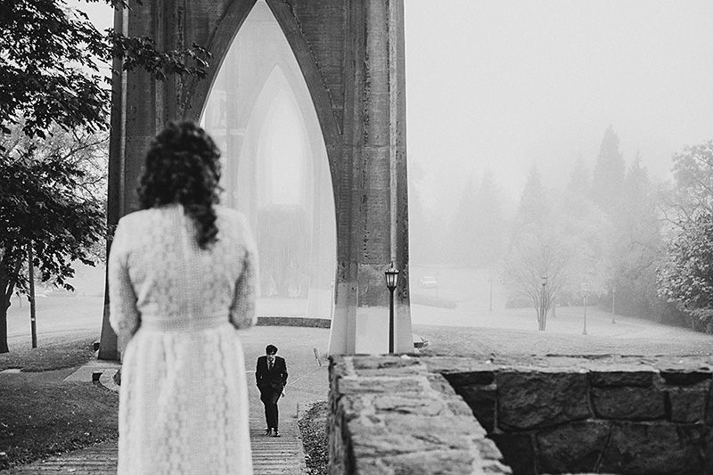 Portland Wedding Photographer - Eleanor and Max's Cathedral Park elopement