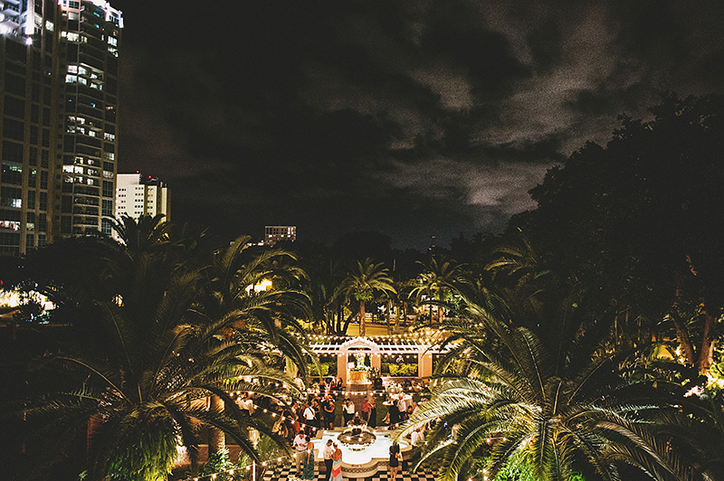 St Petersburg Wedding Photographer - Aerial view of Nats & Drew's outdoor reception at the Vinoy Renaissance Hotel