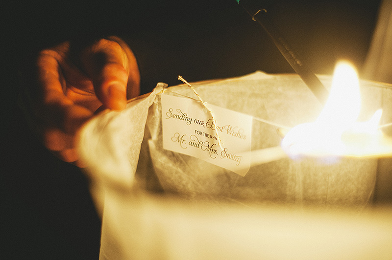 St Petersburg Wedding Photographer - Guests sending off wish lanterns in North Straub Park