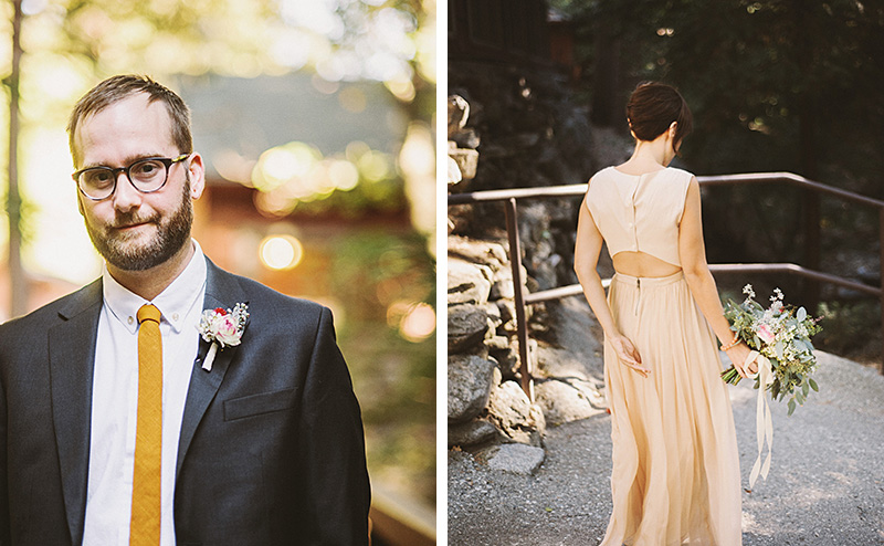 Groom and Bride waiting at their First Look | Kate & Will's Camp Seely Wedding | Kim Smith-Miller