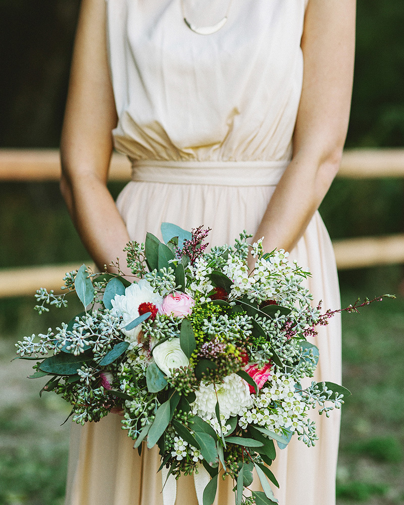 Detail shot of Bride's bouquet | Kate & Will's Camp Seely Wedding | Kim Smith-Miller