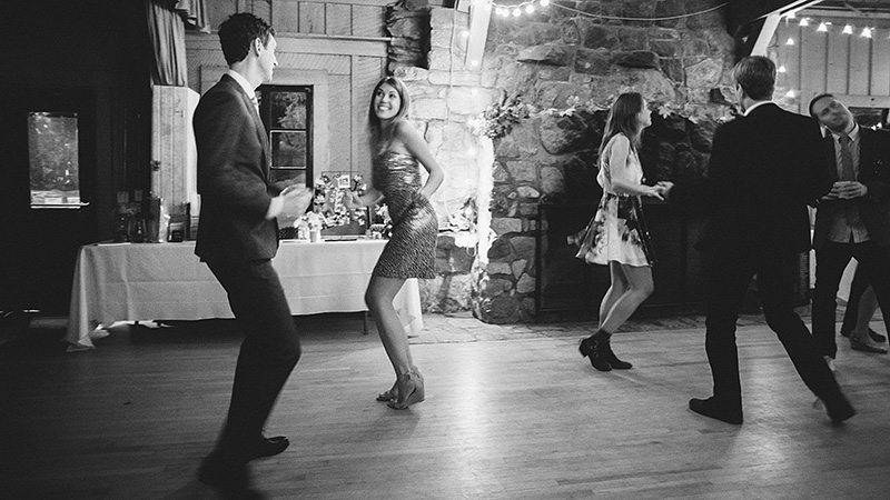 Dancing at the reception in the mess hall | Kate & Will's Camp Seely Wedding | Kim Smith-Miller