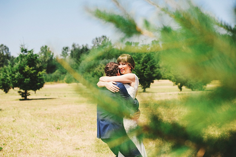 Bride hugging Groom after their First Look - Historic Kirchem Farm Wedding Photographer - Oregon City