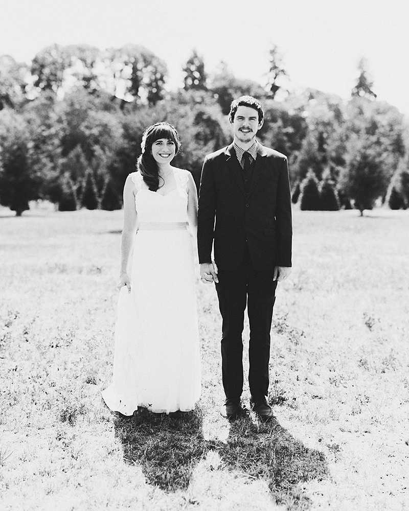 Black and white portrait of Bride and Groom - Historic Kirchem Farm Wedding Photographer - Oregon City
