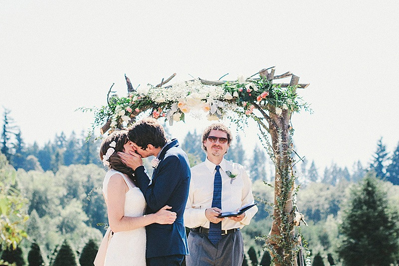 First Kiss as Husband and Wife - Historic Kirchem Farm Wedding Photographer - Oregon City