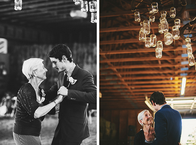 Groom and his grandmother dancing at the barn reception - Historic Kirchem Farm Wedding Photographer - Oregon City