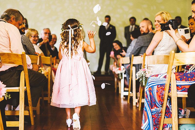 Flower girl at the Little Church PDX - Secret Society Wedding