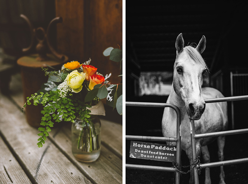 Bride's bouquet of flowers and Horses - Pendarvis Farm Wedding