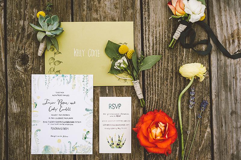 Pendarvis Farm Wedding invitations