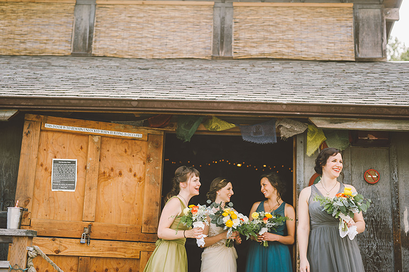 Bride and her bridesmaids gather at the Lucky Barn - Pendarvis Farm Wedding