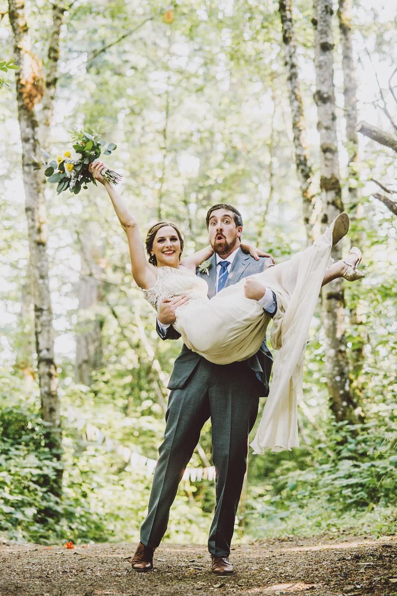 Newlyweds cheering - Pendarvis Farm Wedding