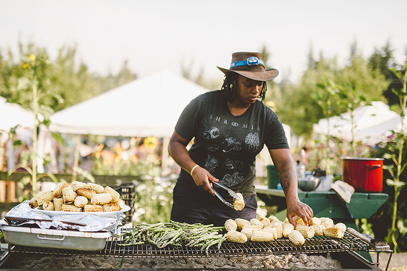 Caterer grilling for the reception - Pendarvis Farm Wedding