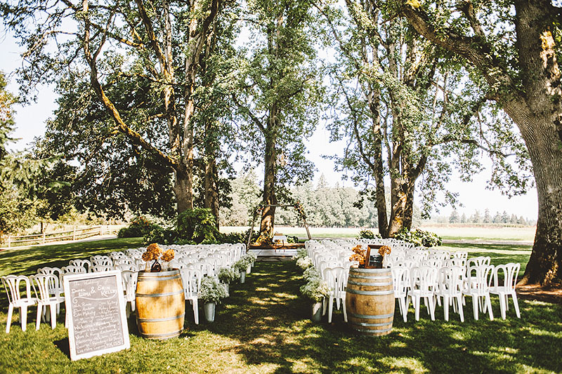 Ceremony site under the trees - Rustic Postlewait's Wedding in Canby, OR