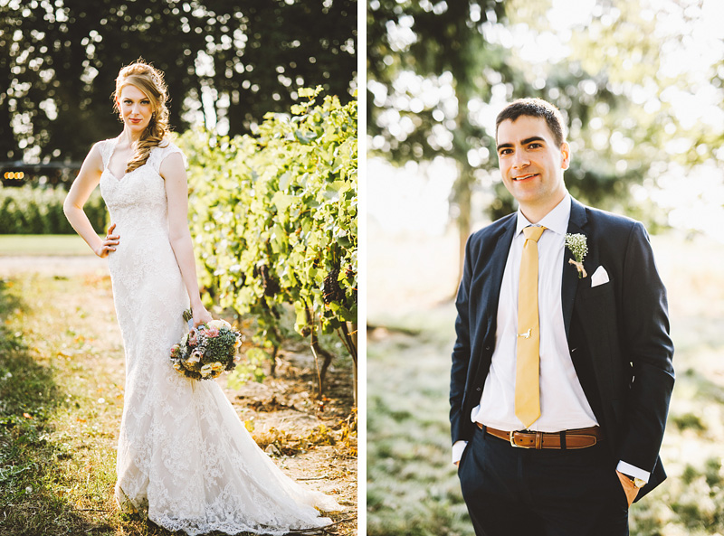 Portrait of Bride and Groom - Rustic Postlewait's Wedding in Canby, OR