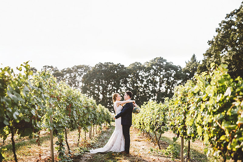 Portrait of Bride and Groom in the vineyards - Rustic Postlewait's Wedding in Canby, OR