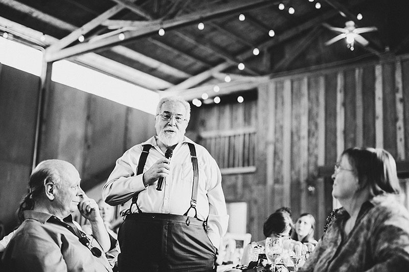 Father of the Groom giving a toast - Rustic Postlewait's Wedding in Canby, OR