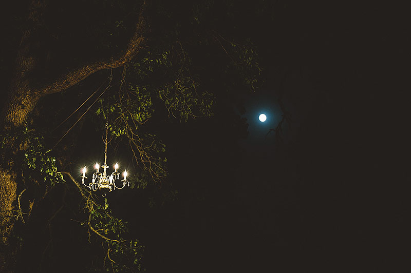 Chandeliers in the trees and the full moon - Rustic Postlewait's Wedding in Canby, OR