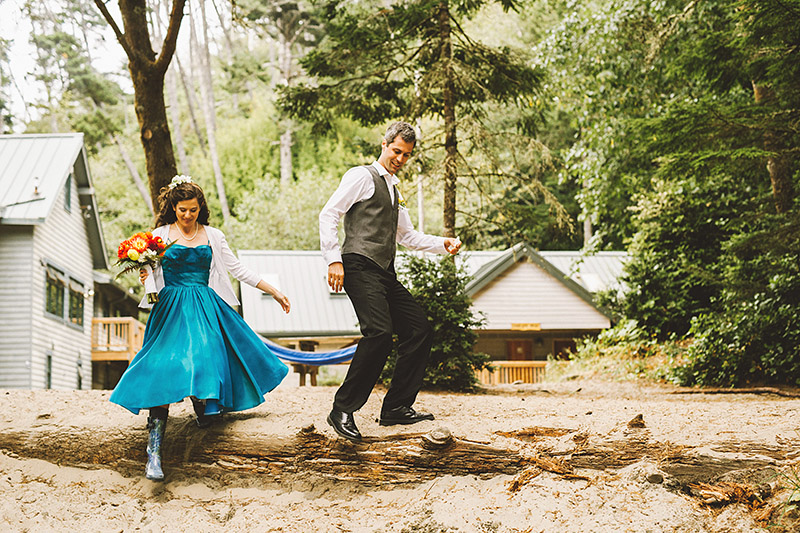 Bride and Groom walking together to their Camp Westwind Wedding ceremony