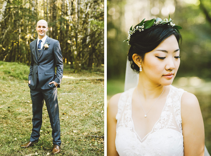 Portrait of Bride and Groom at their Nature Bridge Wedding