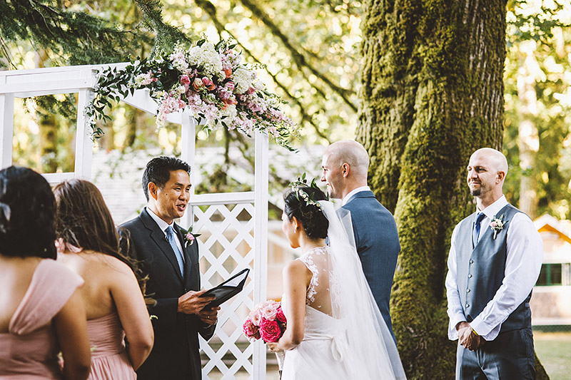 Ceremony in front of Lake Crescent at a Nature Bridge Wedding