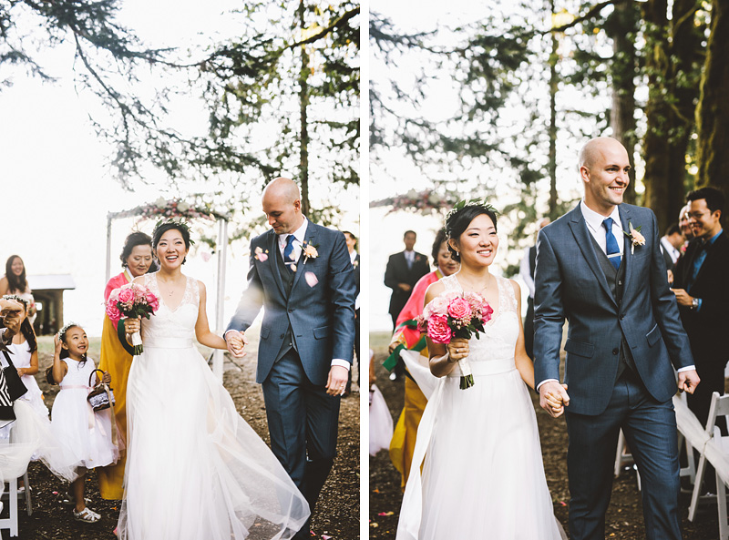 Bride and Groom leaving the ceremony | Nature Bridge Wedding