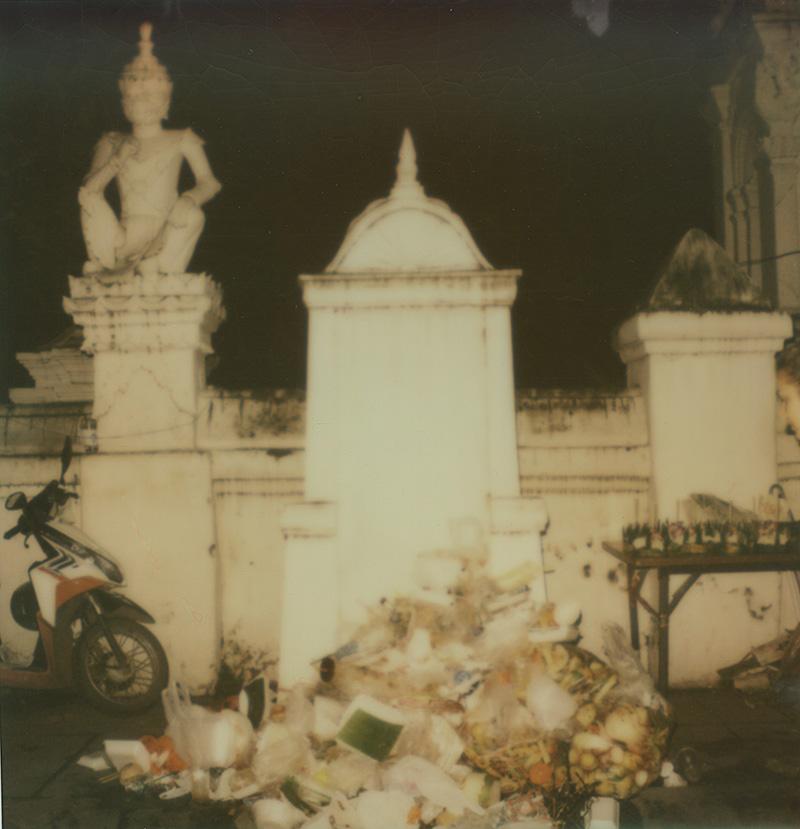 Pile of garbage at the Loi Krathong festival | SLR680 Polaroid