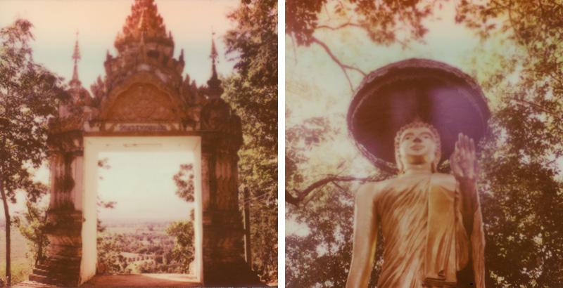 Statues inside a temple in rural Chiang Mai   SLR680 Polaroid
