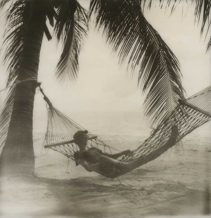 Chris relaxing in a hammock on Koh Mak in the Gulf of Thailand | SLR680 Polaroid