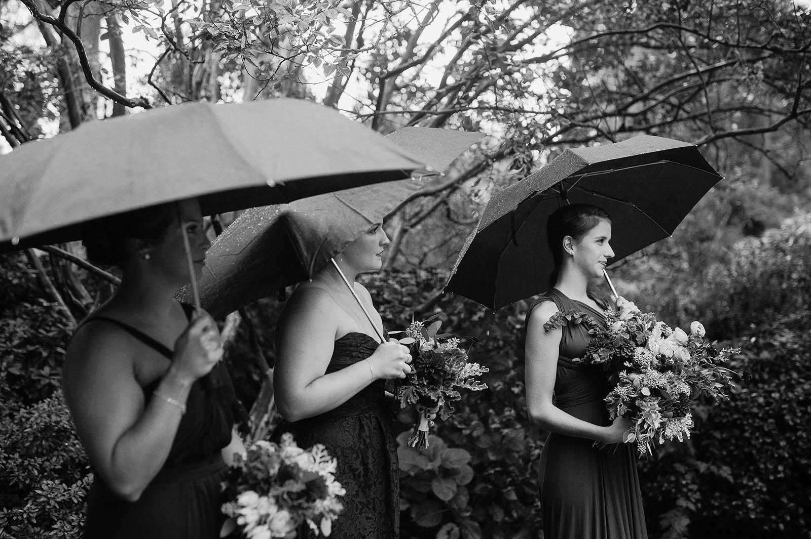 Bridesmaids with umbrellas at a rainy Crystal Springs Rhododendron Garden wedding ceremony