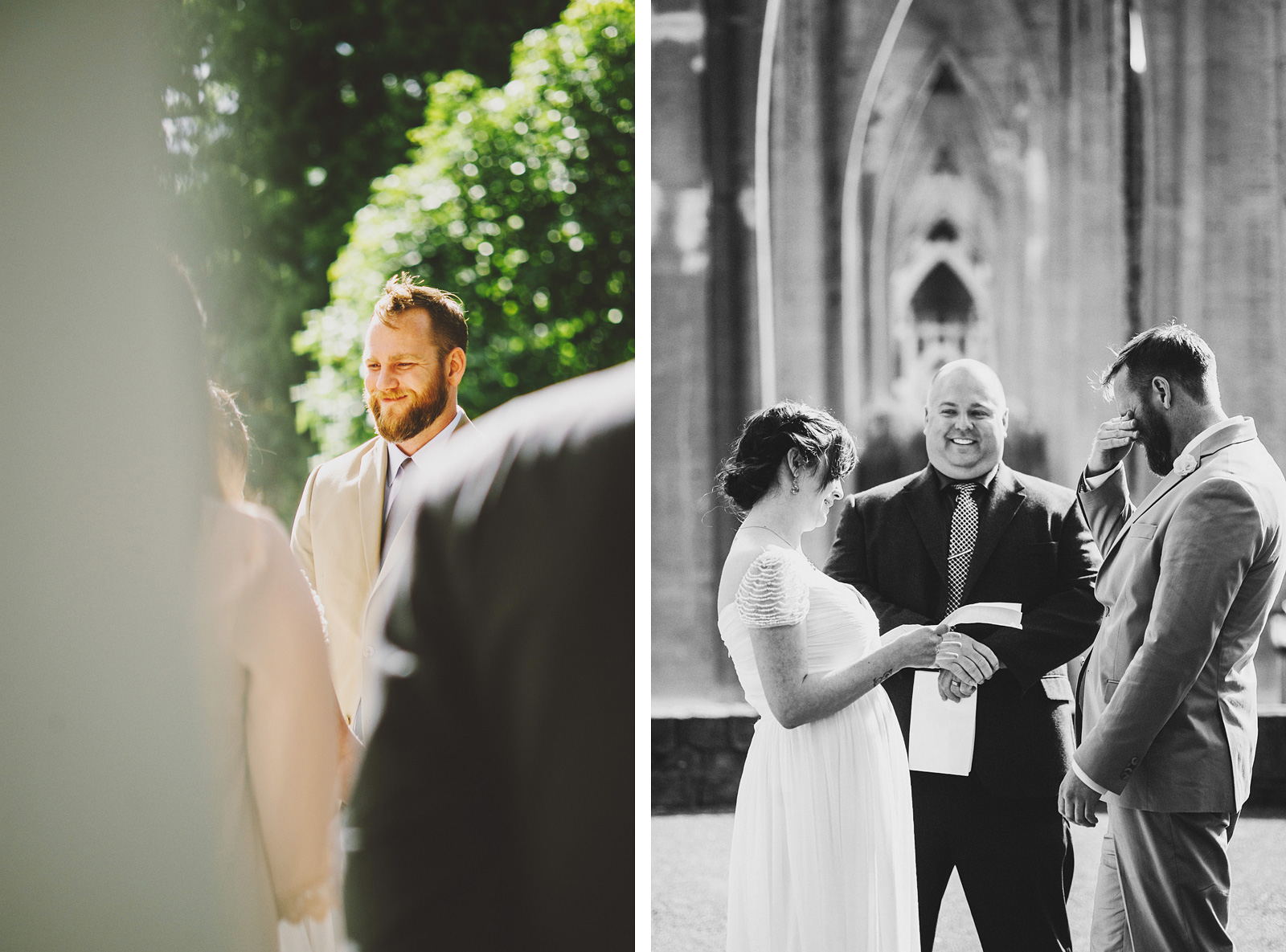Bride reading vows to Groom | Cathedral Park Wedding
