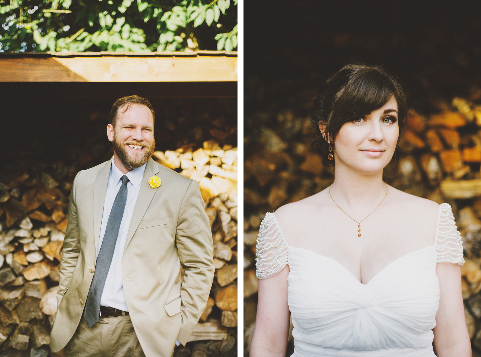 Portrait of Bride and Groom | Cathedral Park Wedding