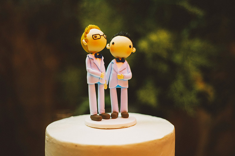 Same sex wedding cake toppers at Foreign Cinema