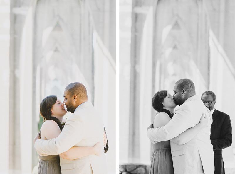 St Johns Bridge Wedding - Bridge and Groom's First Kiss