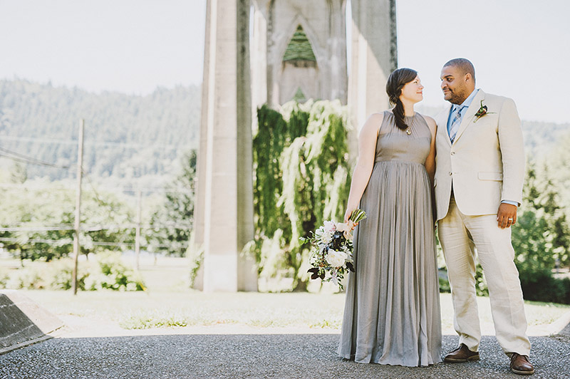 St Johns Bridge Wedding - Portrait of Bride and Groom by the Willow Tree