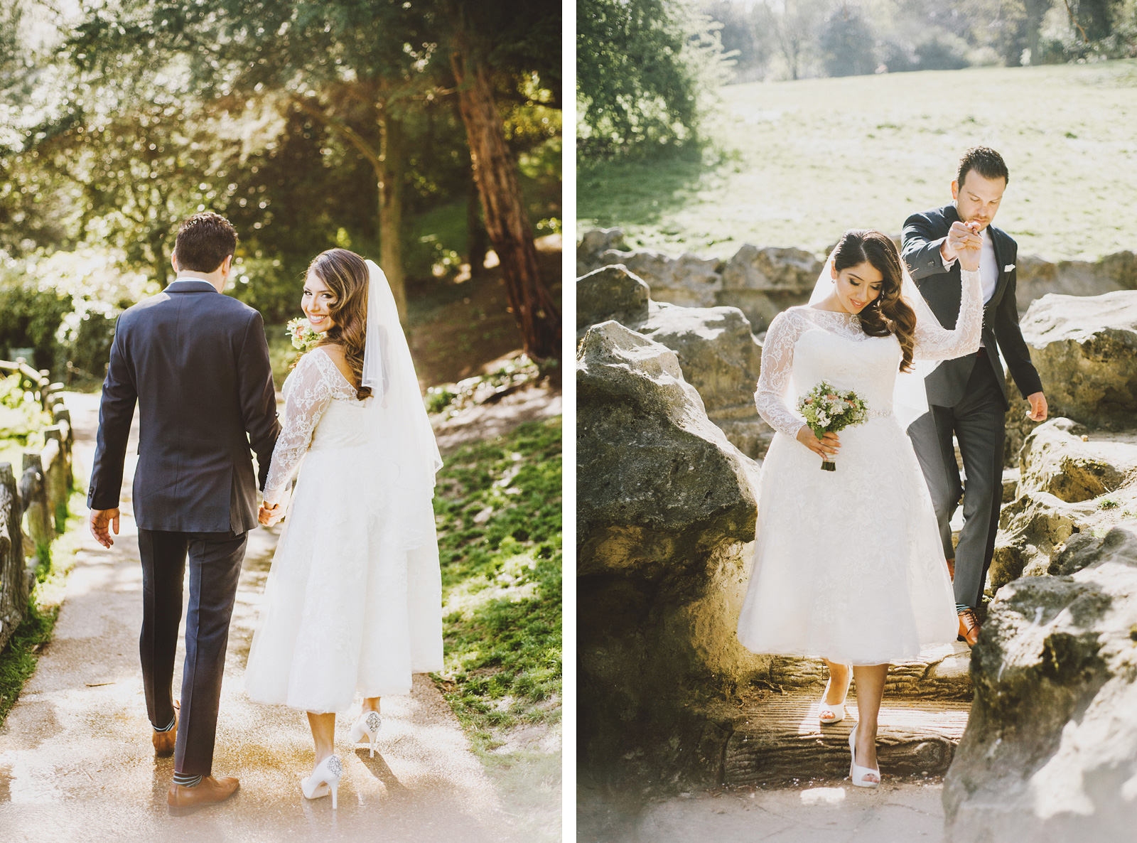Bride and Groom walking to ceremony site | Springtime Paris Elopement at Parc des Buttes Chaumont