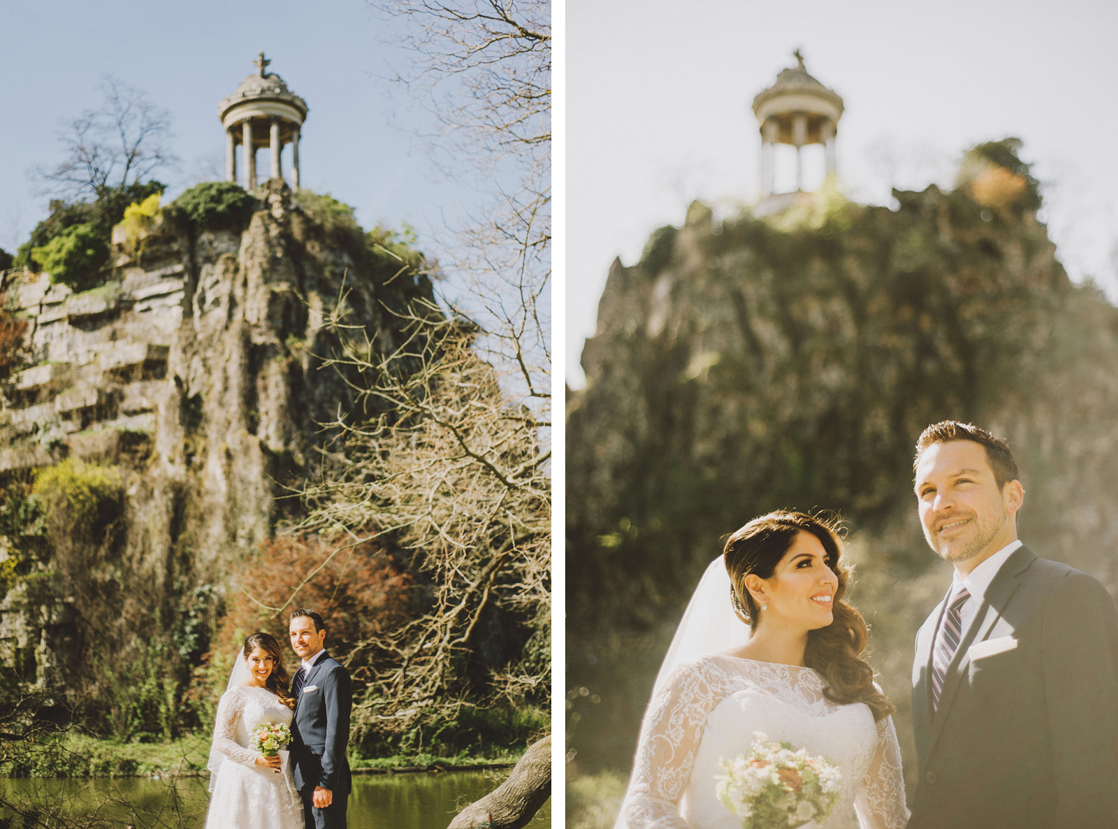 Bride and Groom at their ceremony site | Springtime Paris Elopement at Parc des Buttes Chaumont