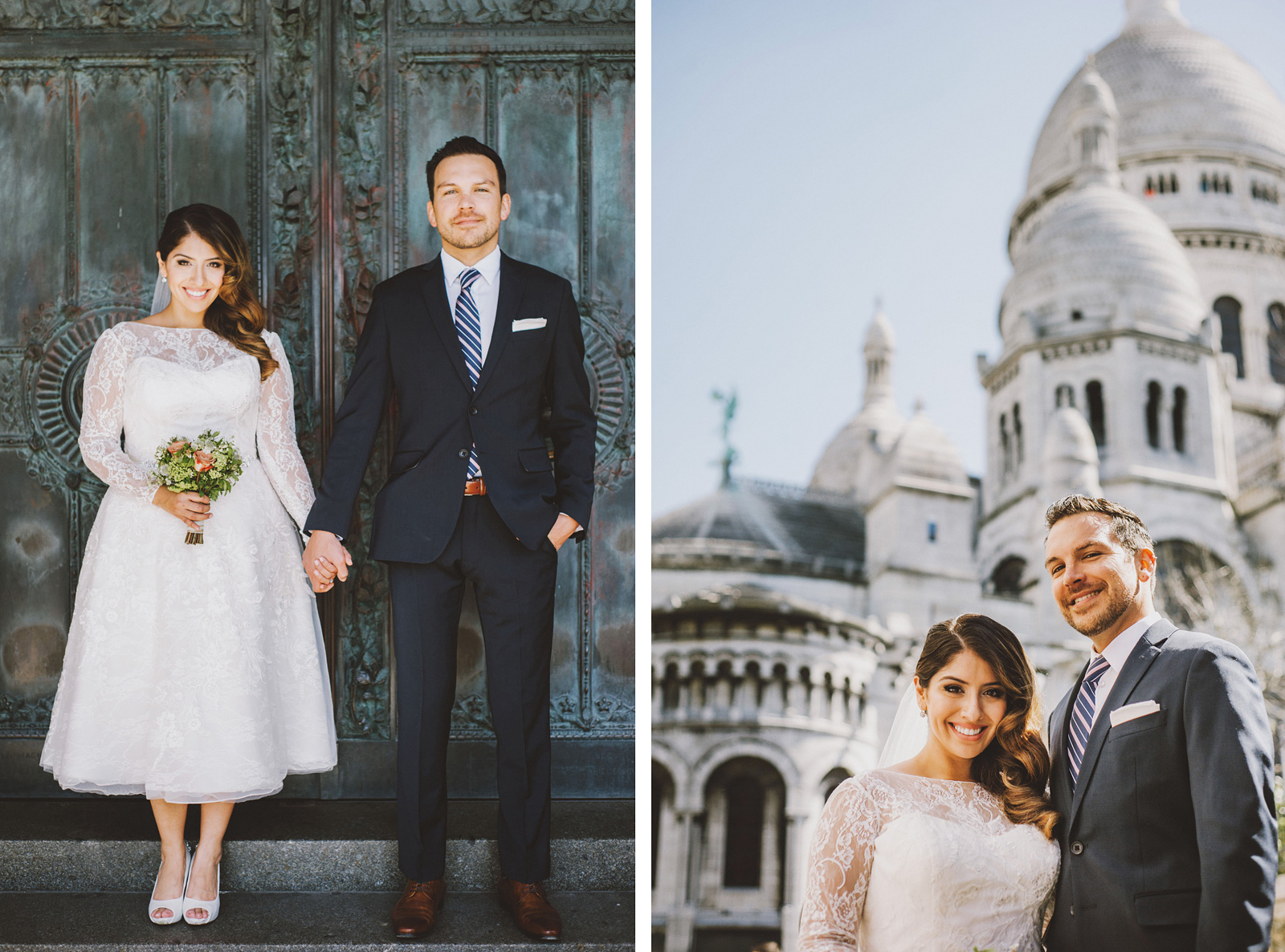Portraits outside of Sacre-Coeur | Springtime Paris Elopement at Parc des Buttes Chaumont